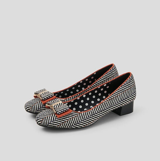 0fac322e72 Black and White Tweed Low Heel Court Shoe - Cassielle Shoe ...